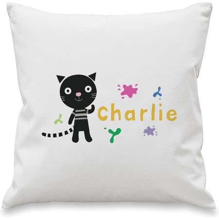 Personalised Arty Mouse Single Character Splash Cushion Cover