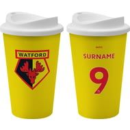Personalised Watford FC Back Of Shirt 350ml Reusable Tea / Coffee Cup