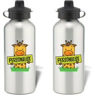 Personalised Kids Giraffe Aluminium Water Bottle
