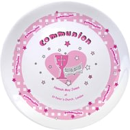 "Personalised Pink Heart Holy Communion 8"" Coupe Plate"