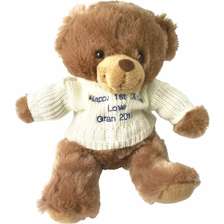 Personalised Brown Teddy Bear With Embroidered Cream Jumper
