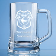 Personalised Cardiff City FC Crest Stern Glass Pint Tankard