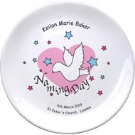 "Personalised Dove & Hearts Pink Naming Day 8"" Coupe Plate"