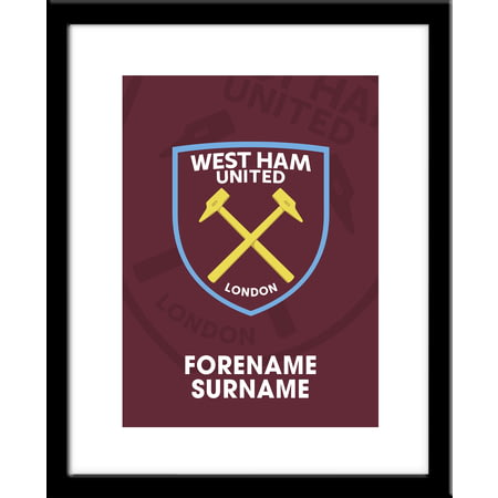 Personalised West Ham United FC Bold Crest Framed Print