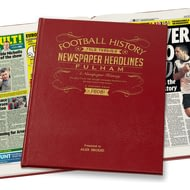 Personalised Fulham Football Newspaper Book - Leather Cover