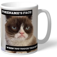 Personalised Grumpy Cat - When You Touch This Mug