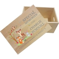 Personalised Woodland Animals Scene Wooden Memory Box