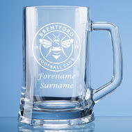 Personalised Brentford FC Crest Stern Glass Pint Tankard