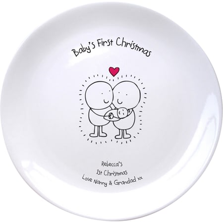 Personalised Chilli & Bubble's Baby's First Christmas Plate