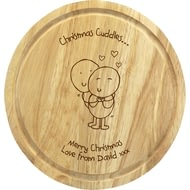 Personalised Chilli & Bubble's Christmas Cuddles Round Chopping Board