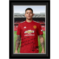 Personalised Manchester United FC Rojo Autograph Photo Framed