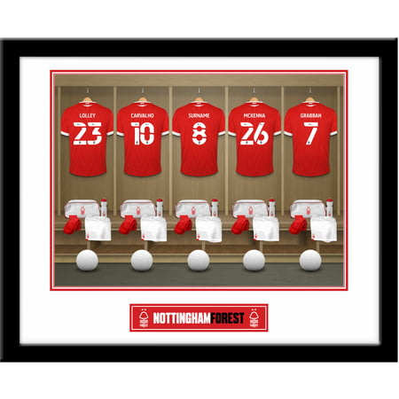 Personalised Nottingham Forest FC Dressing Room Shirts Framed Print