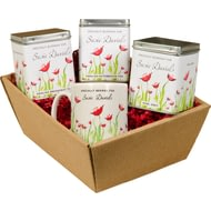 Personalised Poppy Flower Design Tea Hamper
