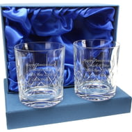 Personalised Crystal Whisky Glass Tumblers Set of 2 In Presentation Box
