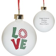 Personalised L-O-V-E Ceramic Christmas Tree Bauble