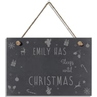 Personalised Sleeps Until Christmas Hanging Slate Sign