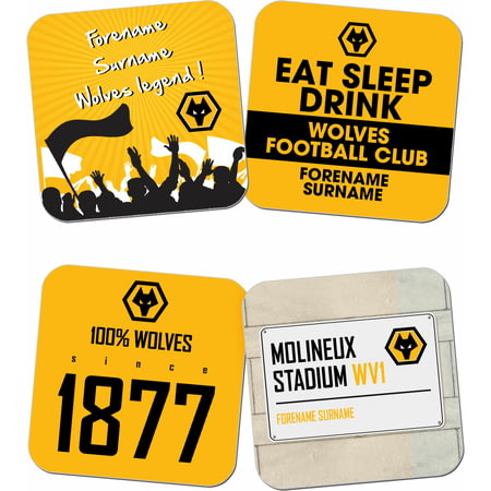 Personalised Wolves Coasters