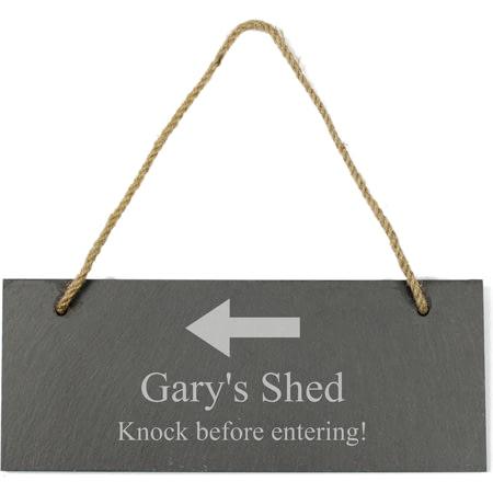 Personalised Engraved Hanging Slate With Arrow Plaque/Sign