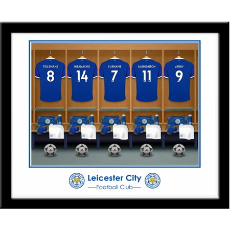 Personalised Leicester City FC Dressing Room Shirts Framed Print