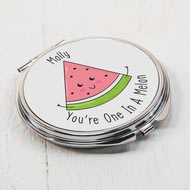 Personalised One In A Melon Compact Mirror