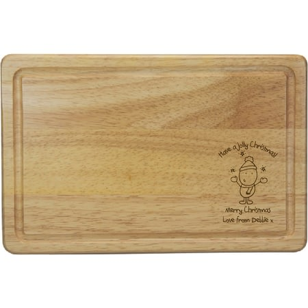 Personalised Chilli & Bubble's Jolly Christmas Rectangle Wooden Chopping Board
