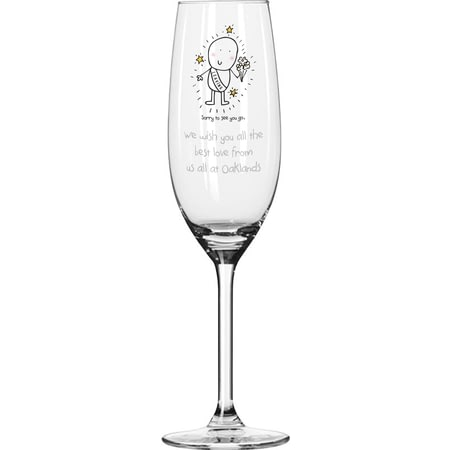 Personalised Chilli & Bubble's Leaving Glass Champagne Flute