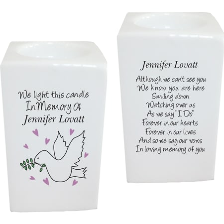 Personalised Doves Memorial Tea Light Holder