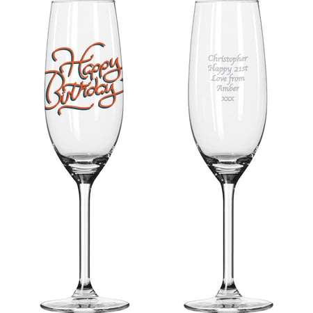 Personalised Happy Birthday Glass Champagne Flute