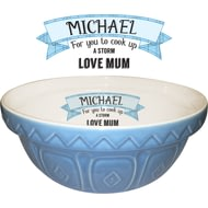 Personalised Blue Large Ceramic Mixing Bowl And 1990 Recipe Book