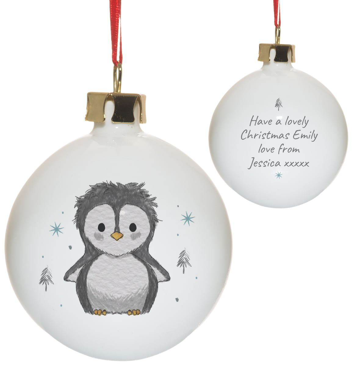 Gorgeous Ceramic Family Of 4 Penguin christmas tree dec can be personalised