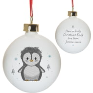 Personalised Pebbles The Penguin Ceramic Christmas Tree Bauble