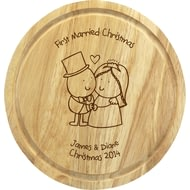 Personalised Chilli & Bubble's Married Christmas Round Chopping Board