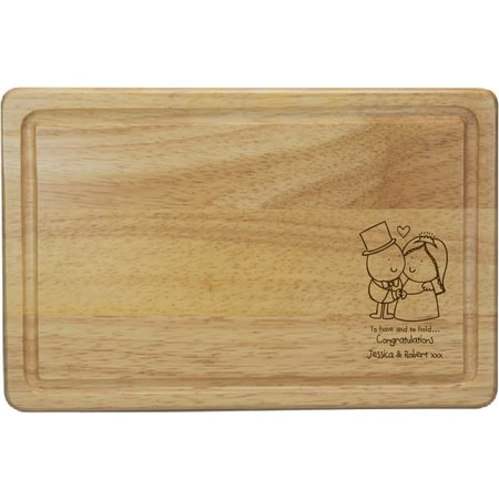 Personalised Chilli & Bubble's To Have & To Hold Rectangle Wooden Chopping Board