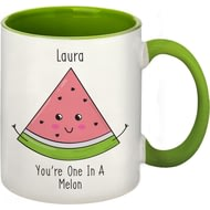Personalised One In A Melon Green Inside Mug