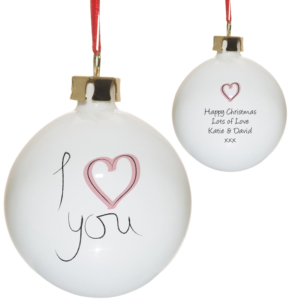 Iheart Christmas.Personalised I Heart U Bone China Christmas Tree Bauble