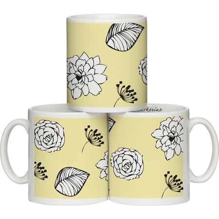 Personalised Modern Floral Yellow Ceramic Mug