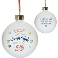 Personalised The Most Wonderful Time Of The Year Christmas Tree Bauble