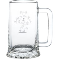 Personalised Etched Wedding Character Glass Stern Tankard
