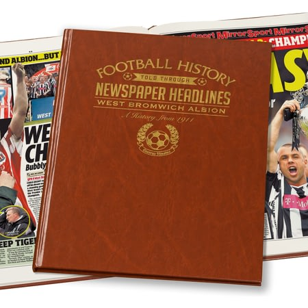 Personalised West Bromwich Albion Football Newspaper Book - Leatherette Cover