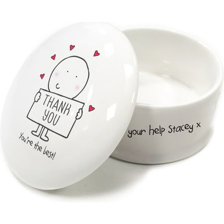 Personalised Chilli & Bubble's Thank You Trinket Box