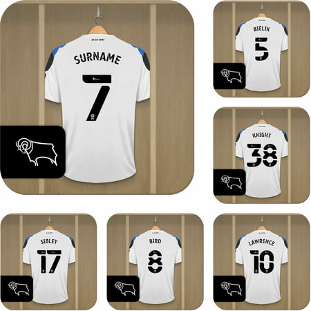 Personalised Derby County Dressing Room Shirts Coasters Set of 6