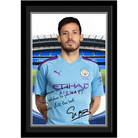Personalised Manchester City FC Silva Autograph Photo Framed