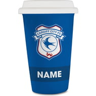 Personalised Cardiff City FC Eat Sleep Drink 350ml Reusable Tea / Coffee Cup with Lid