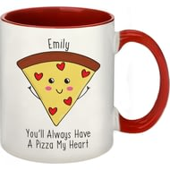 Personalised Pizza My Heart Red Inside Ceramic Mug