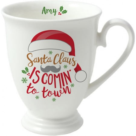 Personalised Santa Claus Is Comin' To Town Marquee Ceramic Mug