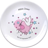 "Personalised Stork Pink Birth 8"" Bone China Coupe Plate"