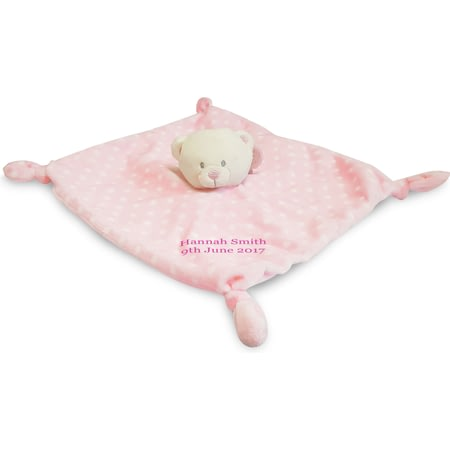 Personalised Pink Bear Baby's First Comforter