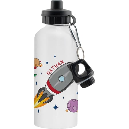 Personalised Space Rocket White Aluminium Drinks Bottle