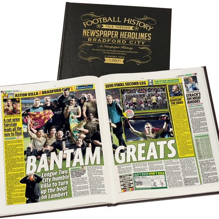 Personalised Bradford Football Newspaper Book - A3 Leather Cover