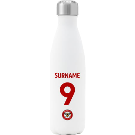 Personalised Brentford FC Back Of Shirt Insulated Water Bottle - White